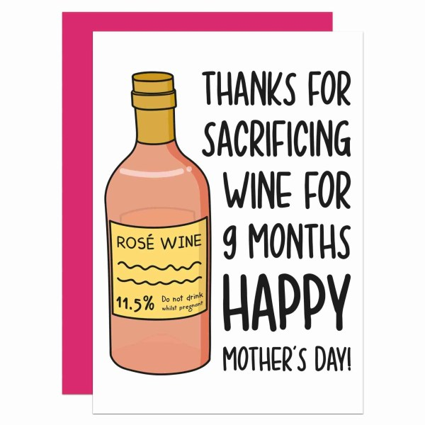 Funny Pun Card, TeePee Creations, Rosé Wine Lover, Mothers Day Card, Card for Mum, Confetti Card, Sacrifice Wine Card, Newborn Mum Card, From Baby Card, 9 Months Card, Give Up Wine, Give Up Drink, Thank You Card