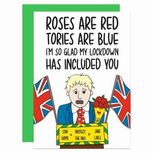 Funny Valentines Anniversary Gift TeePee Creations Confetti Card Boris Johnson Lockdown Quarantine 2021 2020 Present Social Distancing Roses Red Flower Bunch Love Poem Boyfriend Girlfriend Husband Wife