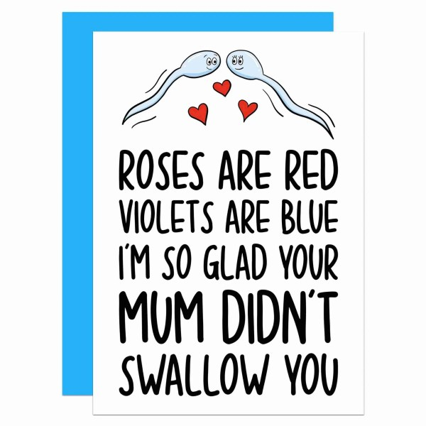 Funny Valentines Rude Anniversary Sperm Pun Swallowed TeePee Creations Confetti Card Cheeky Cum Boyfriend Girlfriend Husband Wife Gift Partner Shocking Poem Adult Roses Red Violets Blue