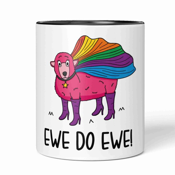 TeePee Creations Pencil Holder Pink Sheep Pot Positive Affirmation You Do Ewe Pun Joke Make Up Brush Be Unique Quote Positivity Present Funny Birthday Congratulations Gift Good Luck LGBT Drag Queen Pride Flag