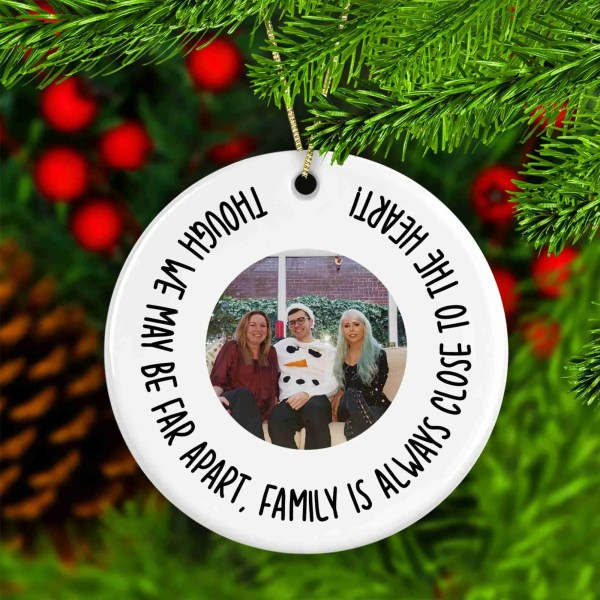 Family Present, Missing You Gift, Mothers Day, Fathers Day, Sister Brother, Custom Photo Bauble, TeePee Creations, Tree Decoration, Pocket Hug, Stocking Filler, Lockdown Present, Long Distance, Going Away Gift