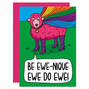 TeePee Creations Confetti Card Pink Sheep Positive Affirmation You Do Ewe Pun Joke Be Unique Quote Positivity Present Funny Birthday Congratulations Gift Good Luck LGBT Drag Queen Pride Flag