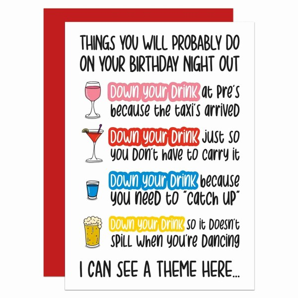 White birthday greetings card with several drink illustrations and funny phrases about 'Downing Your Drink' on a night out.