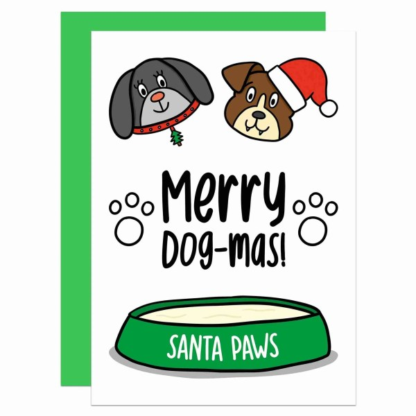 """Greetings card with dog's illustration and the phrase """"Merry Dog-mas!"""" on the front."""