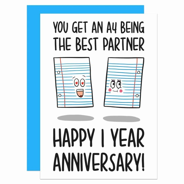 """Greetings card with paper sheets illustration and the phrase """"You get an A4 being the best partner Happy 1 year anniversary!"""" on the front."""