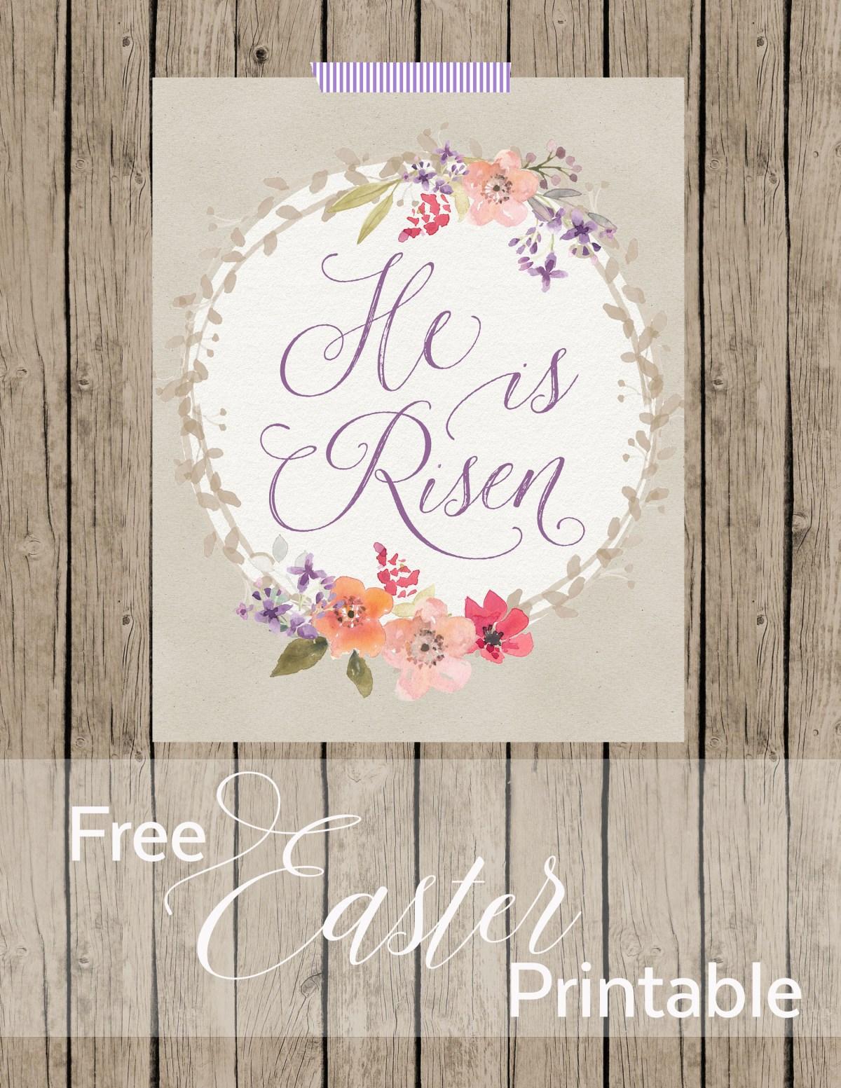 He Is Risen Free Easter Printable www.TeepeeGirl.com
