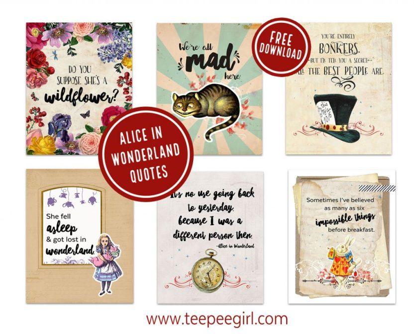 Alice In Wonderland Free Prinables www.TeepeeGirl.com