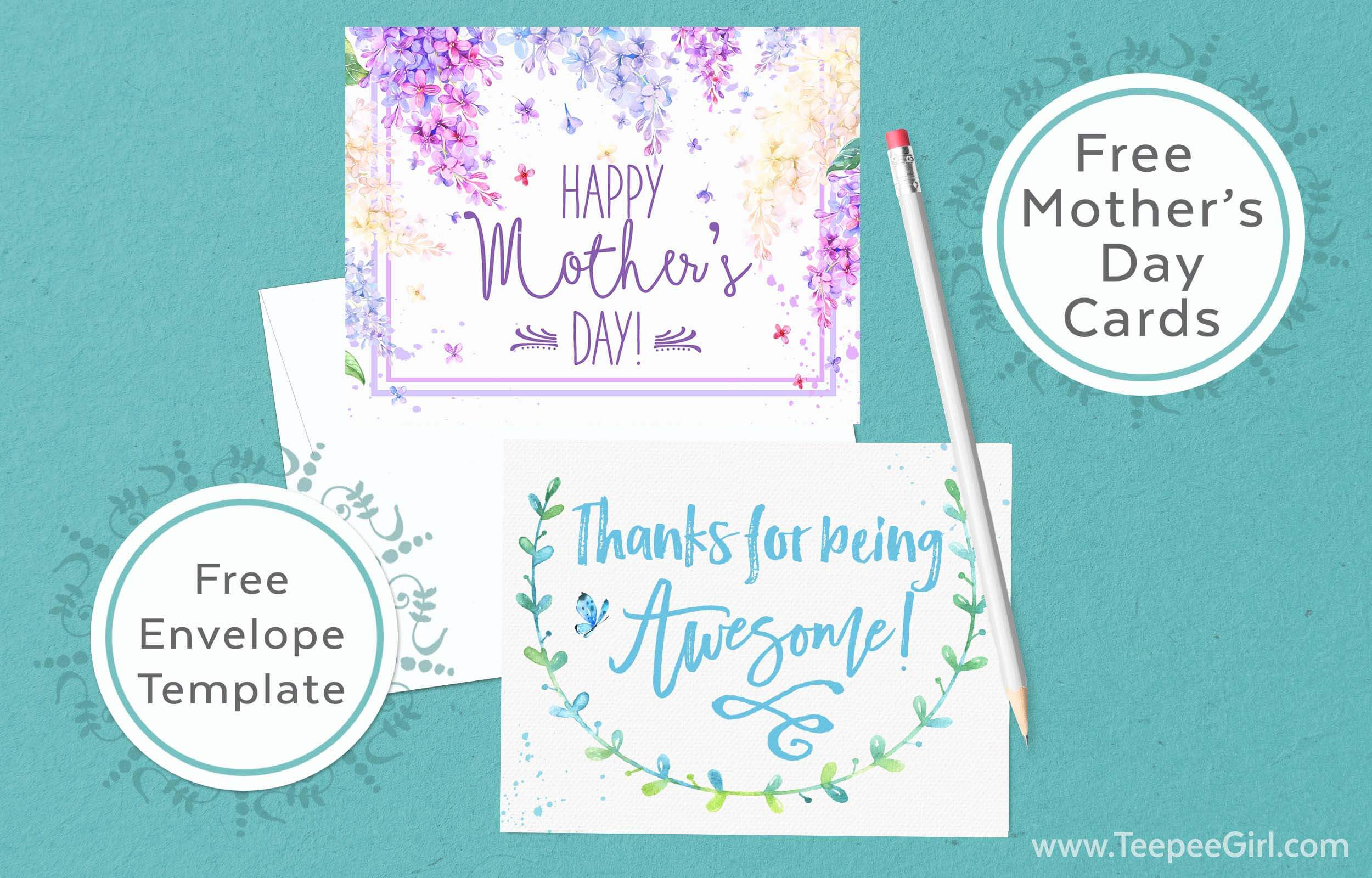 Free Mothers Day Cards Envelope Template Teepee Girl - Free mother's day card templates