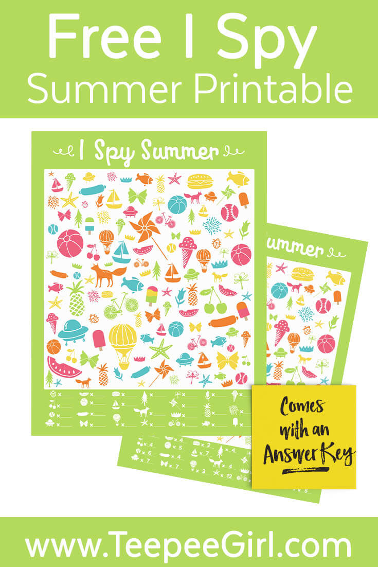 Free I Spy Summer Game - Teepee Girl