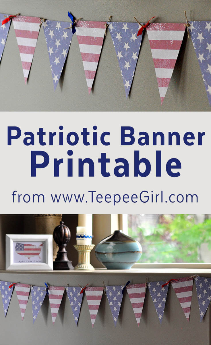 Free Patriotic Flag Banner Printable from www.TeepeeGirl.com