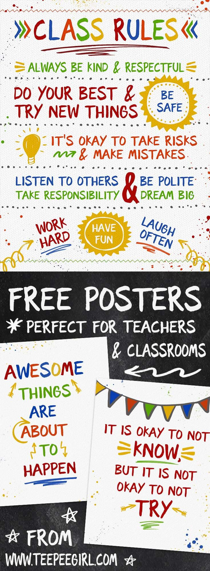 These free posters are perfect for classrooms, as teacher appreciation gifts, or anywhere you need some inspiration! www.TeepeeGirl.com