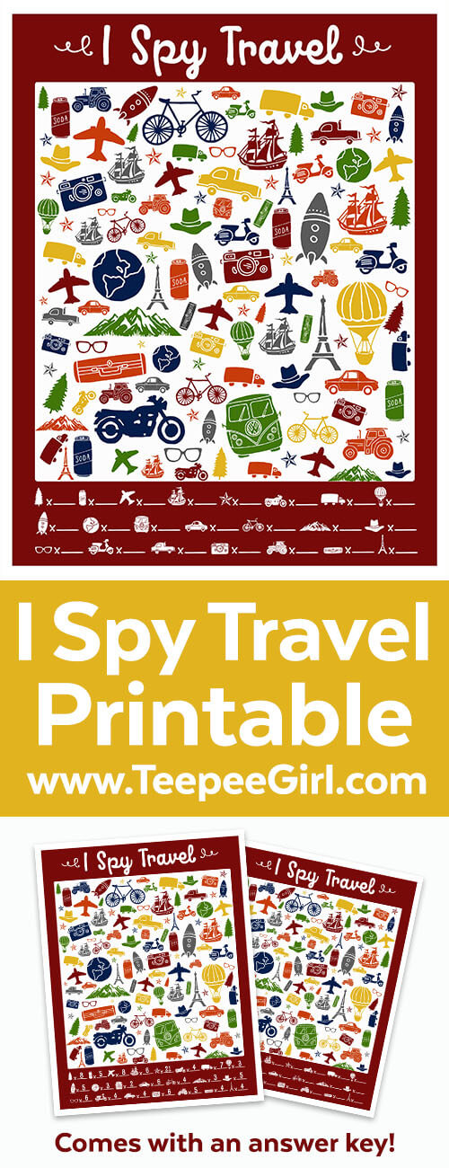 This free I Spy Travel printable game is perfect for keeping little people busy in the car, on road trips, in airports, or on the plane! But they are also great for quiet afternoons at home. www.TeepeeGirl.com