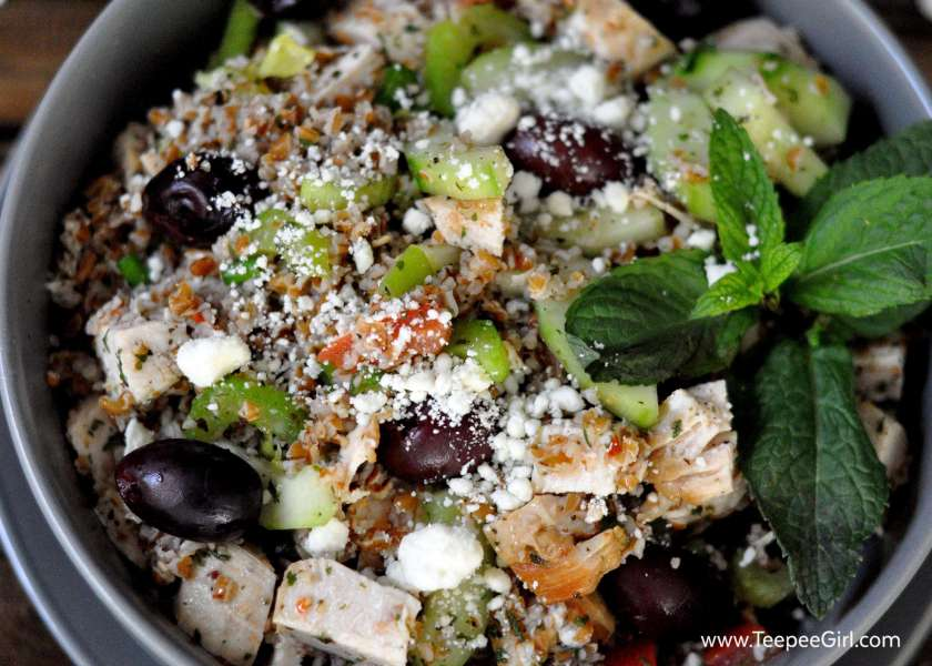 This chicken tabbouleh is healthy and delicious! It is a perfect entree for summer nights or a tasty side dish. www.TeepeeGirl.com
