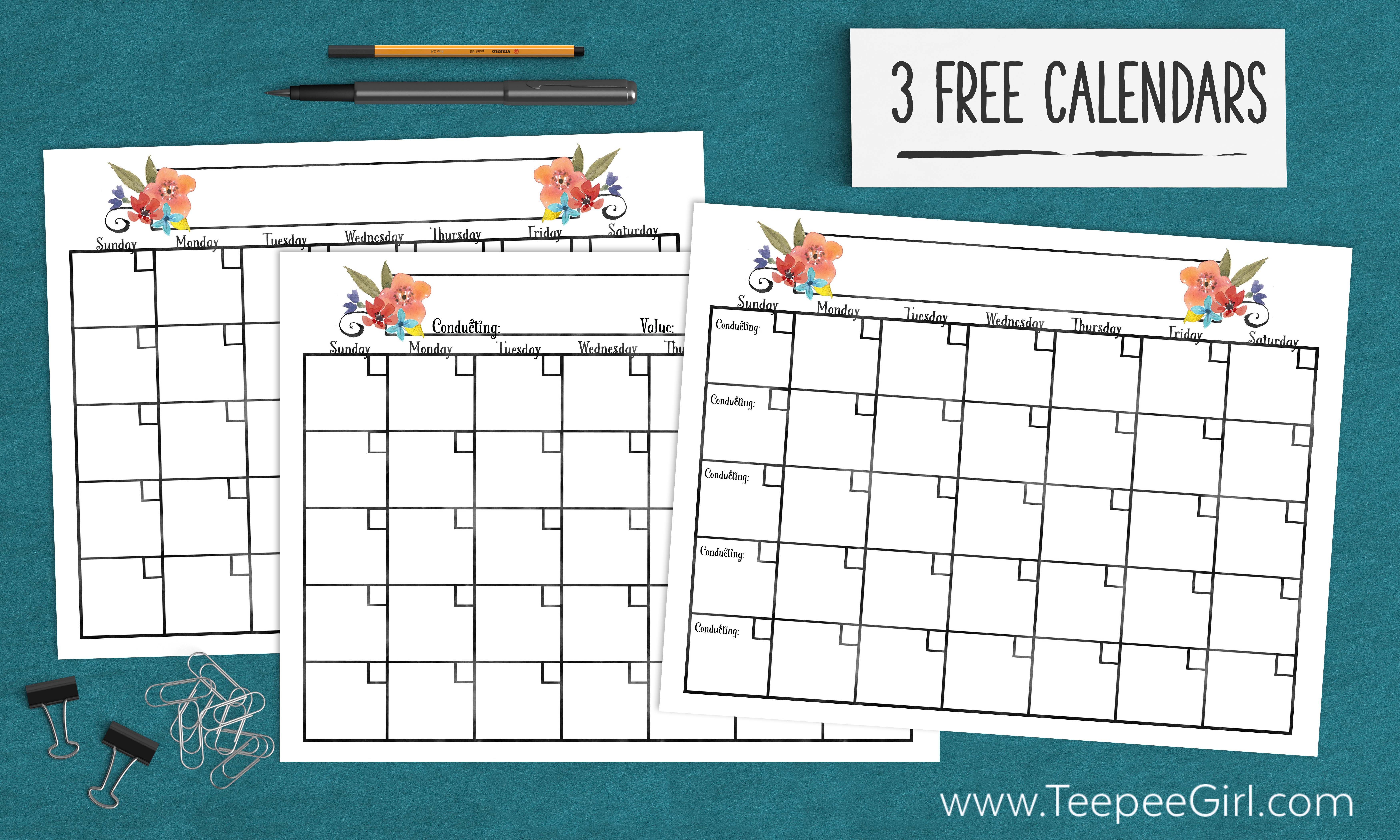 2017 Calendars for Young Women