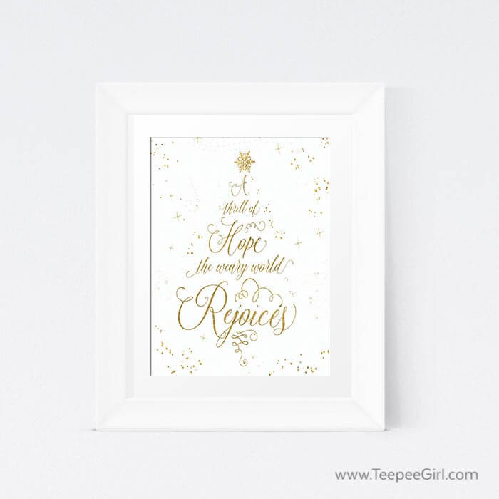 This free Christmas card and printable make the perfect gift set! You can frame the printable and give it with the matching card to show how thoughtful you are. Or you can frame the printable and use it in your home while sending the cards to friends. Click here or go to www.TeepeeGirl.com!