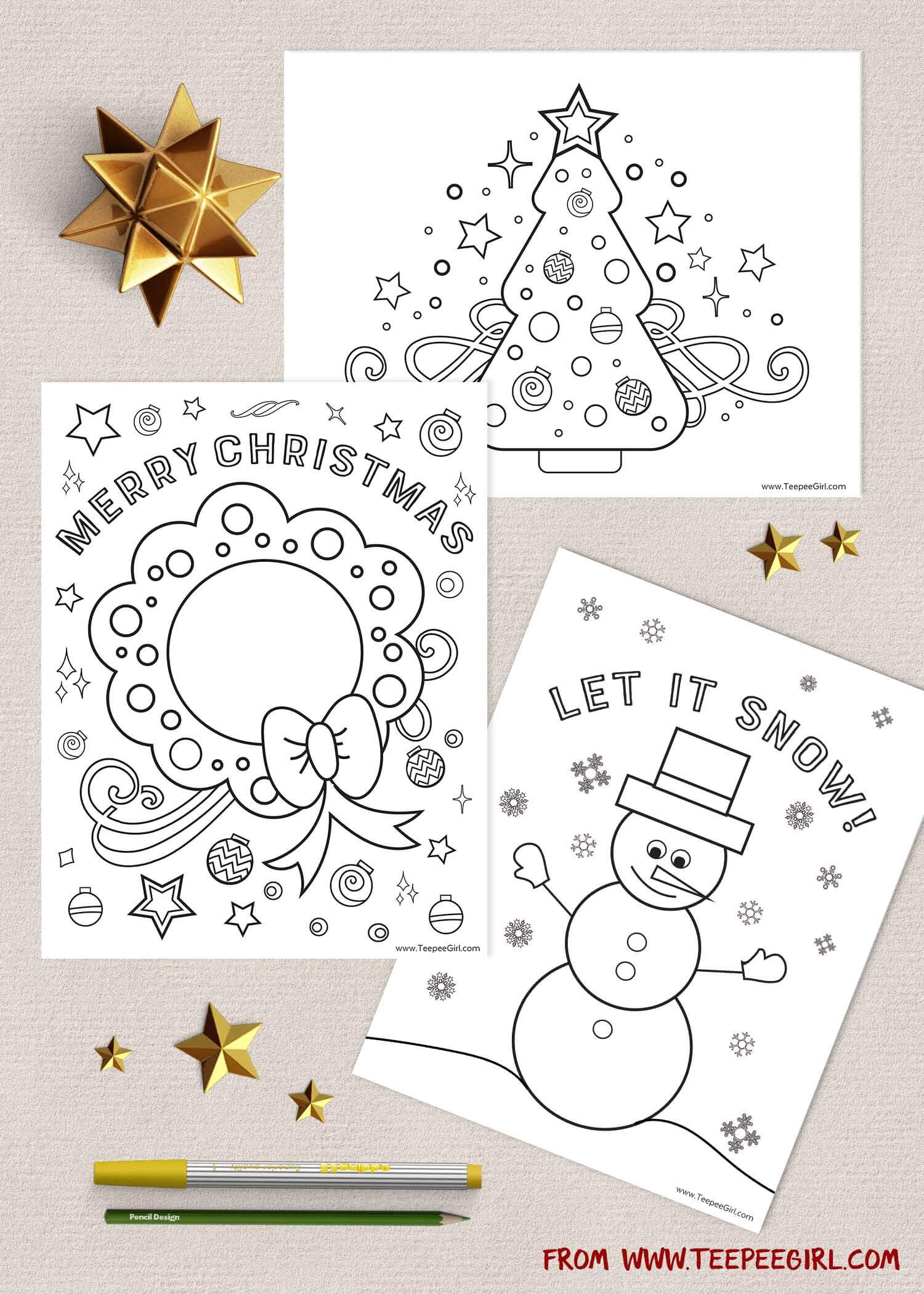 Free Christmas Coloring Pages | www.TeepeeGirl.com