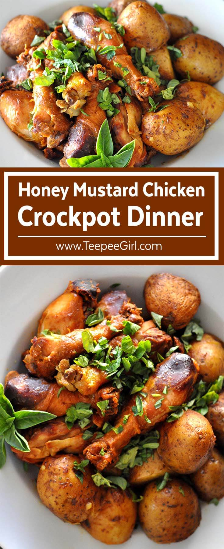 This easy & delicious Crockpot Honey Mustard Chicken & Potatoes is the perfect meal for busy weeknights! It's hearty, rich, and totally scrumptious! Click here to get the recipe or go to www.TeepeeGirl.com.
