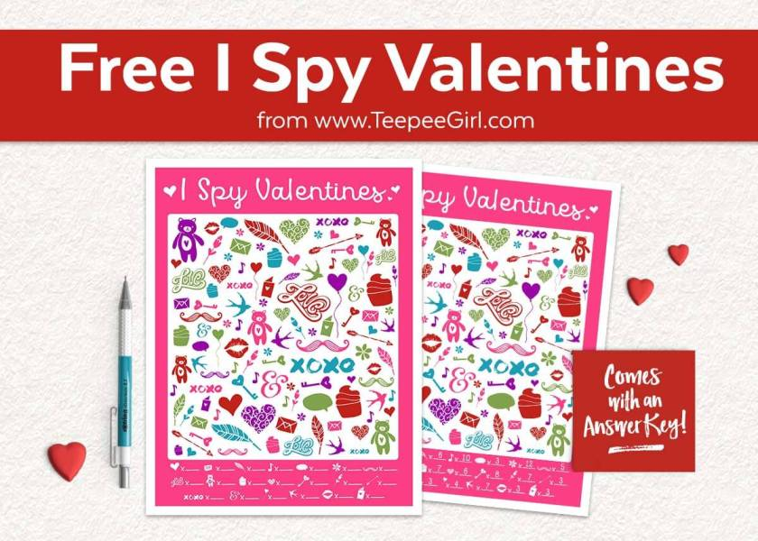 This free I Spy Valentines printable game is perfect for Valentine's parties, play-dates, or quiet afternoons at home! Click here or go to www.TeepeeGirl.com!