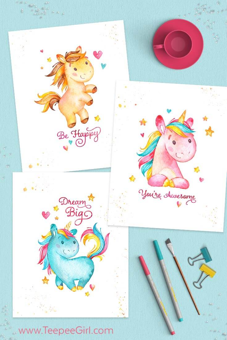 Free 8x10 Unicorn printables from TeePee Girl from Free Unicorn Printables via Mandy's Party Printables