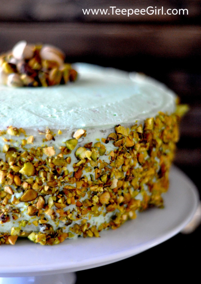 This homemade pistachio cake is moist, easy, and so delicious! It's the perfect spring and summer dessert and is a tribute to my Aunt Lou! Get the recipe at www.TeepeeGirl.com.