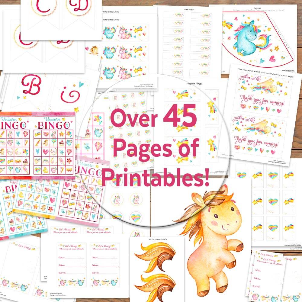 this unicorn party printable kit is all you need for your next party www