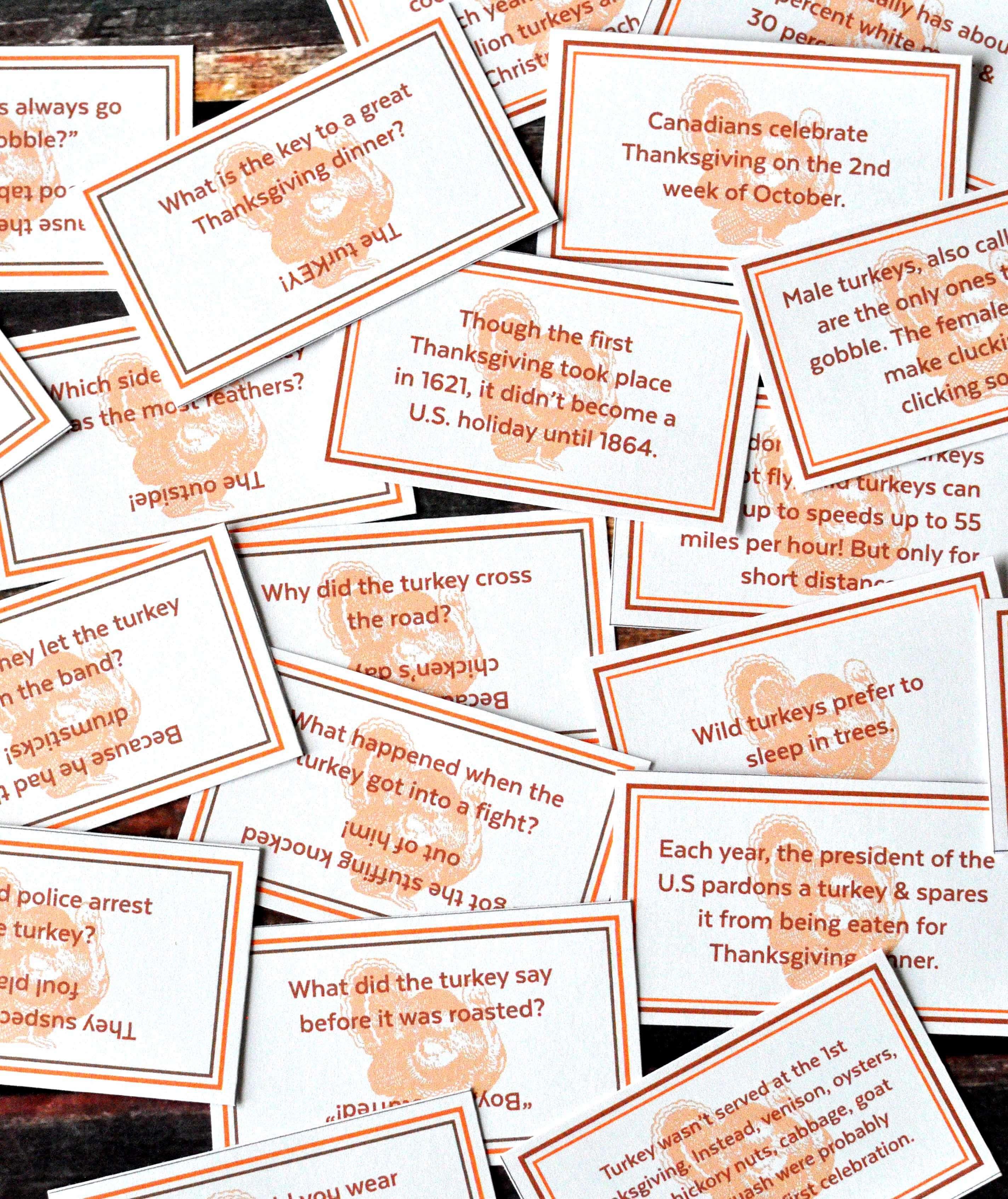 Free Thanksgiving Jokes Fun Facts Printables