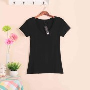 2018-Hot-Sale-Stretch-Summer-New-Women-T-Shirts-Ms-Solid-Color-Short-Sleeve-tshirt-Women_W00622 black