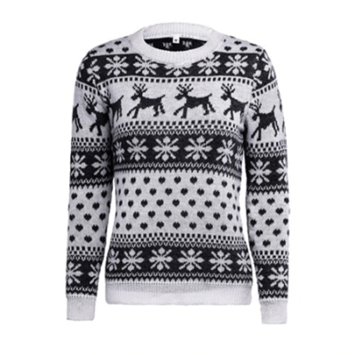 Long Sleeve Deer Print Knitted Ugly Christmas Sweater