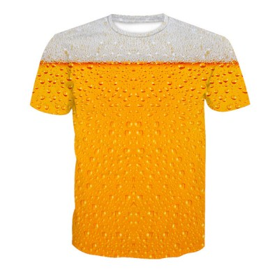 Men beer bubble print t shirt