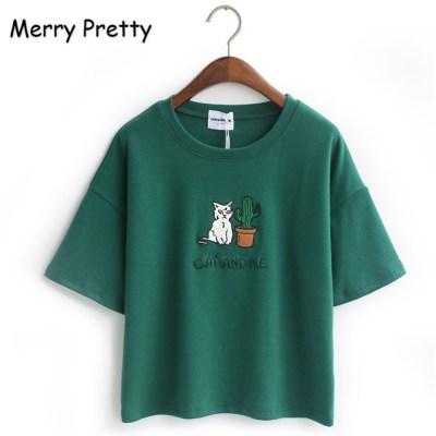 Merry-Pretty-Harajuku-t-shirt-women-Korean-style-t-shirt-tee-kawaii-cat-embroidery-cotton-tops_7