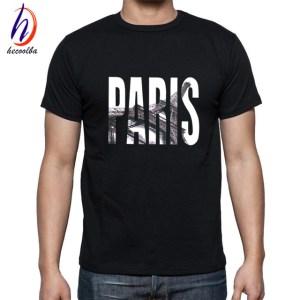 Men Summer Short Sleeve Paris Printed T-shirts