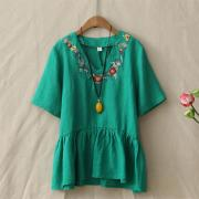Summer-Retro-Loose-Embroidery-Flowers-V-Neck-Cotton-Linen-T-Shirt-Womens-Short-Sleeve-Casual-Peplum_Green