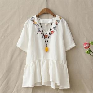 Summer-Retro-Loose-Embroidery-Flowers-V-Neck-Cotton-Linen-T-Shirt-Womens-Short-Sleeve-Casual-Peplum_White