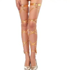 Faux Leather Bandage Thigh High Stockings