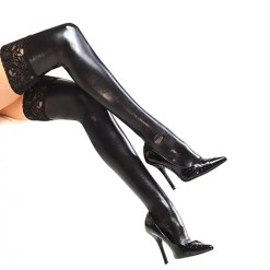 Wet Look Patent Leather Lace Floral Thigh High