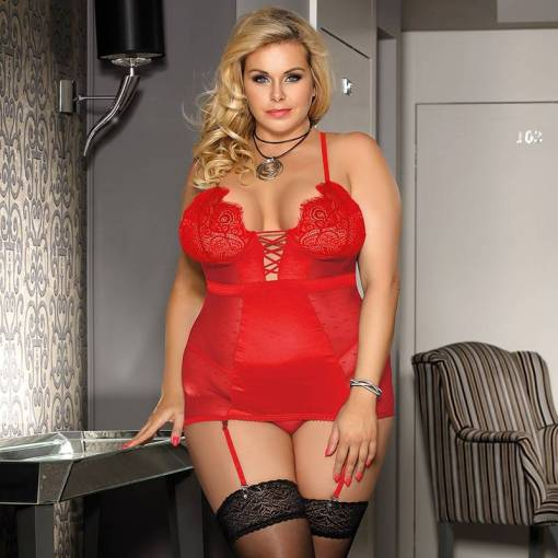 Lace Trim Plus Size Black Satin Chemise and G-String