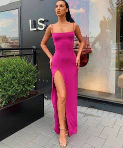 Strappy Sleeveless Long Slit Dress