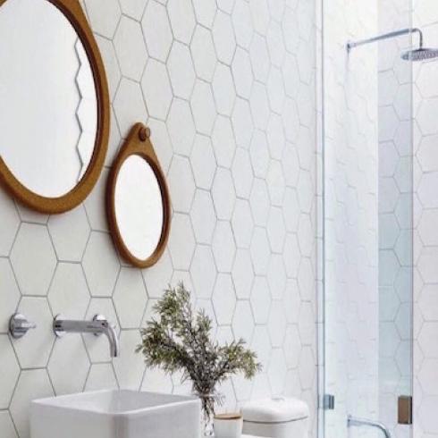 Hexagon wit lichtgrijs mat wand en vloertegel 175 x 20