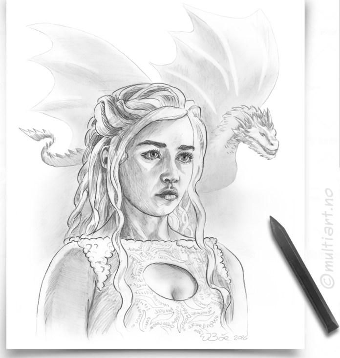 Tegning av Daenerys Targaryen, fra serien «Game Of Thrones»