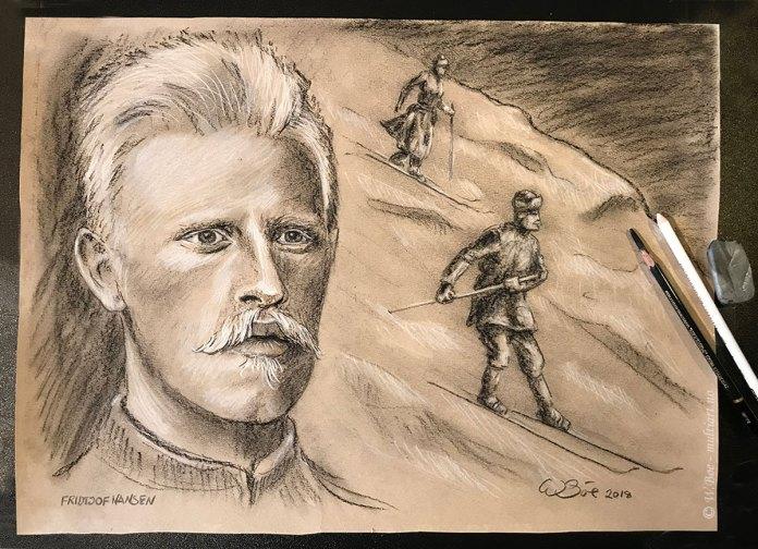 Fridtjof Nansen - Illustrasjon som forestiller Fridtjof og Eva på ski over Norefjell, nyttårsaften 1890. Kulltegning: W. Bøe