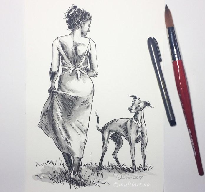 Tusjtegning av dame med hund