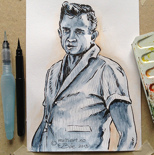 Sketch of Johnny Cash