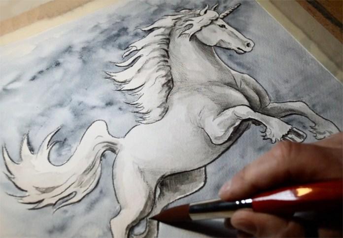 Tegning av en Enhjørning. Vannfarger og fargeblyant