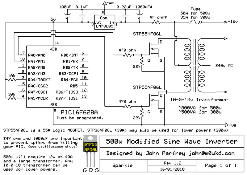 Inverter 12V to 220V schematics free electronic circuits