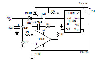 5V to 8V DC converter power supply circuit diagram