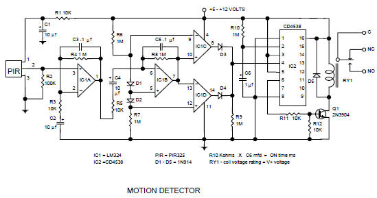 pir motion sensor circuit