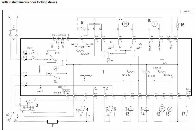 wash machine motor wiring schematic