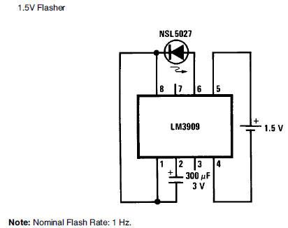 1.5V battery cell LED flasher circuit diagram