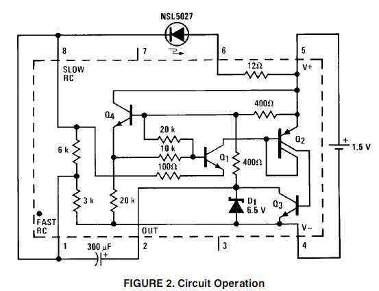 1.5V battery cell LED flasher circuit diagram