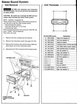 HONDA Car Radio Stereo Audio Wiring Diagram Autoradio